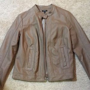 Brown faux leather moto-style jacket